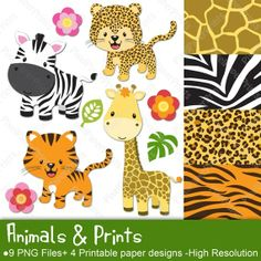 Animals and Prints - Clipart and Digital paper set - Leopard, Tiger, Giraffe…