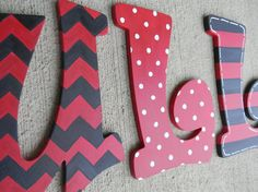 School letters 7.00 EACH LETTER. painted letters in your schools colors. great graduation gift, grad party decor and dorm decor. on Etsy, $7.00