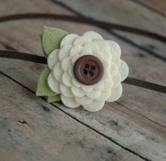 Chocolate and Cream Flower Headband - Wool Blend Felt  Flower Headband For Baby and Girls via Etsy
