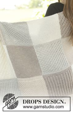 """Blanket with squares in garter st, star pattern, English rib, stripes, waffle pattern and bamboo pattern in """"Nepal"""" ~ DROPS Design"""