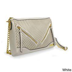 Adrienne Vittadini Diamond Perforated Vegan Top Zip Crossbody Handbag c6bc7dbd8826e