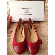 BRAND NEW Alex Marie Red Flats Never worn, brand new Alex Marie adorable red flats. I bought two pairs of these (one in red, one in brown) and decided to only keep the red! My loss is your gain! Size 8 and PERFECT for the upcoming fall! Alex Marie Shoes Flats & Loafers