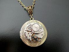 Steampunk Locket Necklace Gothic Jewelry Vintage Watch Movement Wedding Bridal Bride Groom Industrial Gothic Jewellery Steam Punk Necklace. $53.00, via Etsy.