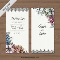 Invitación de boda de bosquejos flores con salpicaduras de acuarela Vector…