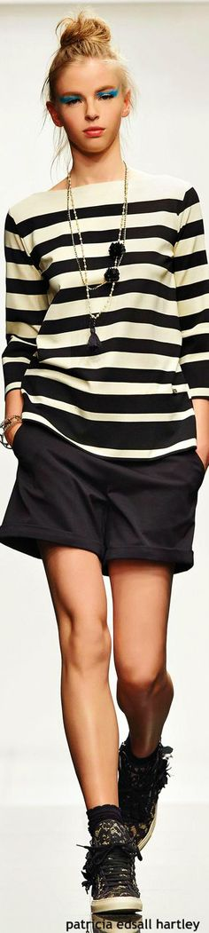 Twin-Set - SS 2015 striped top women fashion outfit clothing style apparel @roressclothes closet ideas