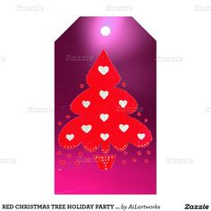 RED CHRISTMAS TREE HOLIDAY PARTY purple Pack Of Gift Tags
