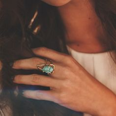 Turquoise & gold statement rings.