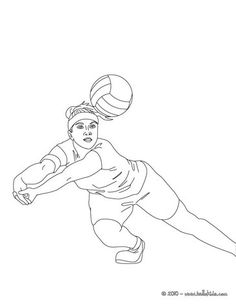 Volleyball Player Digging The Ball Coloring Page More Sports Pages On Hellokids