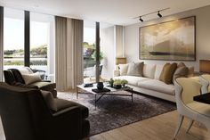 CGI of 3-bed living room with view to bridge