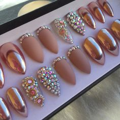Size Large Almond Rose Gold Chrome And Matte Press On Nails | Swarovski Crystals | READY TO SHIP by NailedByCristy on Etsy https://www.etsy.com/listing/475244267/size-large-almond-rose-gold-chrome-and