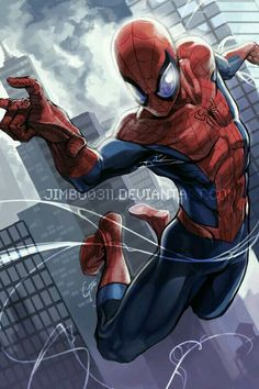 ✧ Marvel Comics : Spider-Man via JimboBox on deviantART Comic Book Characters, Marvel Characters, Comic Character, Comic Books Art, Comic Art, Comics Und Cartoons, Comics Anime, Comic Manga, Spiderman Kunst