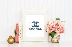 ORIGINAL Chanel elegant indigo blue watercolor. by Maraquela