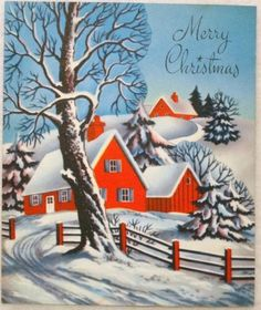 1950s Red House in the Snow-Vintage Christmas Card-Greeting