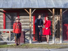 Earlier the Duchess of Cambridge dazzled in a red CH Carolina Herrara coat while Prince William was in more formal wear