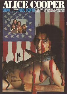 VERY RARE Alice Cooper 1972 Gunther Kieser Munich Poster