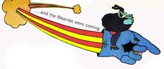 Head Blue Meanie & Dreadful Flying Glove.