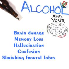 Alcohol is affecting your brain more badly than you think. Effects Of Drinking Alcohol, Alcohol Awareness, Frontal Lobe, Chemist, Your Brain, Side Effects, Clinic, Health Care, Alcoholic Drinks