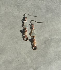 Copper and Shell Earrings, Seashell and Glass Drop Earrings, Mermaid's Trinket Earrings