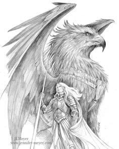"""A vast shadow loomed above, dark wings spanning distances too great, razor-sharp talons sparking with the spitting blue fire of a strange power."" _____________________________ (Older RPG art by Jennifer L. Meyer of www.jennifer-meyer.com)"