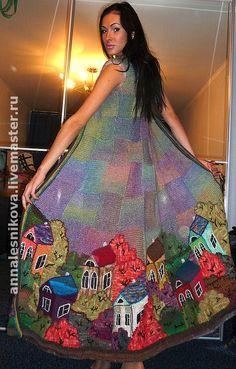 """Купить Пальто """"Домики 3D"""" - вязаное пальто, вязаный кардиган, платье-пальто, вязаное платье"""