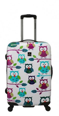 Viele weitere lustige Motive gibt es auf www.koffer.ch   Saxoline   Owles   67 x 47 x 26 cm   #Eulenmotiv #Reisegepäck #Urlaub