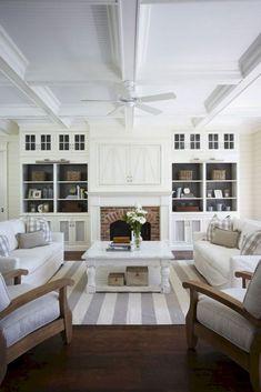 99 cozy and eye catching coastal living room decor ideas (91)