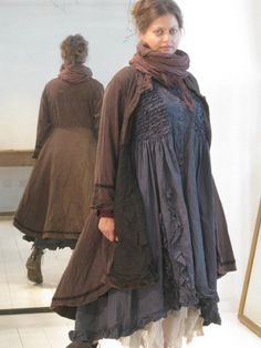 Ewa i Walla Twill Coat With Voile Underlayer 66173