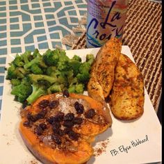 ✨Post workout fuel earlier today was basic but delicious!  Chicken breast, steamed broccoli with coconut aminos, and a baked sweet potato with almond butter-coconut flakes-and raisins. Simple and delicious. #NomNom https://www.facebook.com/TeamJERF