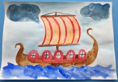 Viking Fiction makes fun learning – ofamily learning together Boat Painting, Painting For Kids, Norway Crafts For Kids, Norway Viking, Dragon Birthday Parties, Art Projects, Projects To Try, Boat Crafts, Craft Club