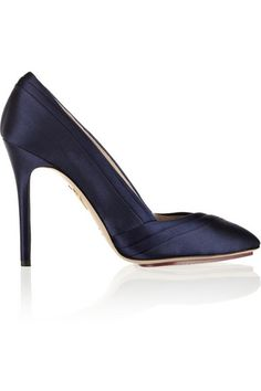 GABRIELLE'S AMAZING FANTASY CLOSET | Charlotte Olympia Navy Satin Origami Folded Toe.  Handmade Heel measures a 4 inches with a 10mm/ 0.5 inch island platform