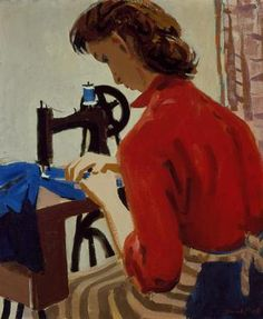 ✿Needlework✿ David Park, Lydia at the Sewing Machine, Richard Diebenkorn, Wayne Thiebaud, David Park, Bay Area Figurative Movement, Oakland Museum, San Francisco Museums, Portraits, Sewing Art, Museum Of Modern Art