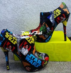 Printed Star Wars Ankle Boot Heels