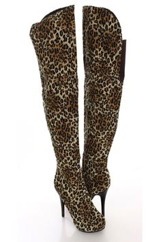bf281720883e Leopard Faux Leather Thigh High Heel Boots   Sexy Clubwear
