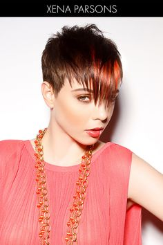 Short Hairstyle with Pop of Color on Fringe