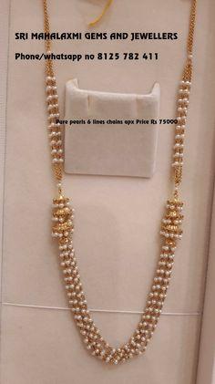 Necklaces Simple pearl chain designs - Pretty Pearl Pieces You Should Own! Gold Chain Design, Gold Jewellery Design, Bead Jewellery, Pearl Jewelry, Diamond Jewellery, Indian Jewelry, Beaded Jewelry, Jewelry Necklaces, Pearl Necklace Designs