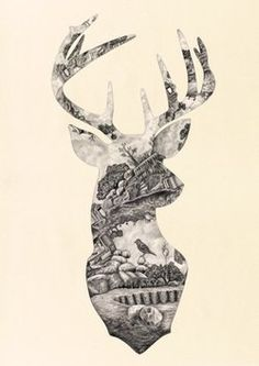 deer tattoo but maybe filled or made out of a floral design.