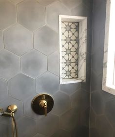 Cement Tile Shop - Encaustic Cement Tile Pacific Grey Hexagon - not a fan of the tiles in the shampoo box. Cement Tiles Bathroom, Hexagon Tile Bathroom, Hexagon Tiles, Bathroom Flooring, Honeycomb Tile, Kitchen Tiles, Mosaic Tiles, Wall Tiles, Cement Tile Backsplash