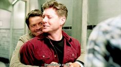 """Dean: (mouths """"It's so big"""") Cas: I know, and it's all yours Dean: (HELLA BLUSHES)"""