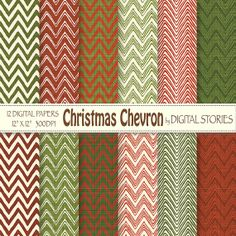 Chevron Digital Paper CHRISTMAS CHEVRON Red by DigitalStories, €2.60