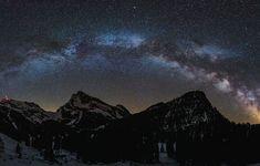 The Milky Way stretching over the Lütispitz Mountain in Switzerland. Sky Gazing, Roanoke Virginia, Sky Mountain, Extreme Weather, Milky Way, Night Skies, Stretching, Mother Nature, Switzerland