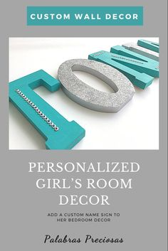 Add a little bling to her bedroom wall decor with these fabulous turquoise and silver glitter letters. Custom designed just for her #roomdecor #girlsroom #walldecor #wallletters #namesign #roominspo #glitterletters #girlgifts #daughtergift Wood Letters Name, Nursery Letters, Letter Wall, Teen Girl Rooms, Little Girl Rooms, Girls Bedroom, Bedroom Ideas, Free Standing Letters, Letters For Kids