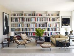 beautiful living room with beautiful bookshelves and love the chairs Home Library Design, House Design, Modern Library, Library Ideas, Home Libraries, Decoration Design, Bookshelves, Bookshelf Wall, Home And Living