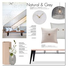 """Natural & Grey"" by helenevlacho ❤ liked on Polyvore featuring M&Co, ferm LIVING, Mitchell Gold + Bob Williams, Madison Park, House Doctor, Home, design and decor"