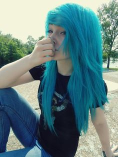 awesome blue scene hair //taylorterminate//...