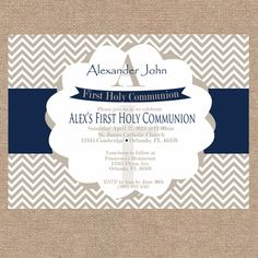 Boy First Communion / Baptism / Christening Invitation | Navy Blue and Beige Chevron