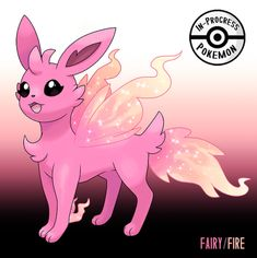 Inspired loosely by will-o'-wisps as welll as general fairy lore. - On rare occasion, an Eevee can be affected by more than one environmental factor, and reacts to grow into a new, rare evolution. Fairy/Fire Eeveelutions are elusive Pokemon,. Pokemon Eevee Evolutions, Pokemon Oc, Type Pokemon, Pokemon Memes, Pokemon Fan Art, Pokemon Fairy, Pokemon Cards, Manga Pokémon, Pokemon Mignon