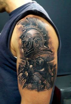 What does gladiator tattoo mean? We have gladiator tattoo ideas, designs, symbolism and we explain the meaning behind the tattoo. Schulterpanzer Tattoo, Biomech Tattoo, Armor Tattoo, Norse Tattoo, Best 3d Tattoos, Body Art Tattoos, Tattoos For Guys, Cool Tattoos, Lion Tattoos On Arm