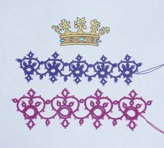"Tina Frauberger ""Crowns"" - The bottom row is the original, the top row (dark purple) is my scaled down version."