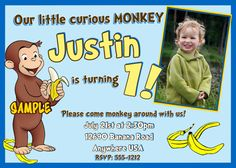 Curious George Birthday Invitations FREE by Createphotocards4u, $15.00