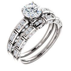 10kt White Gold 6mm Center Round Immitation Diamonds and 38 Accent Round Diamonds Bridal Ring Set...(ST121994:452:P).! Price: $699.99 #10kt #gold #bridalringset #diamonds
